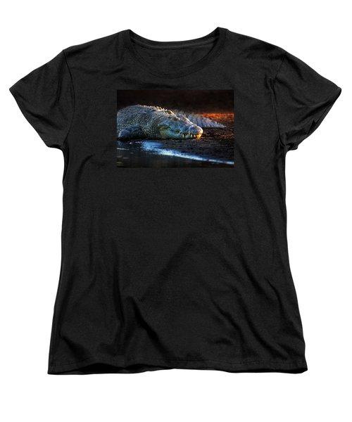 Nile Crocodile On Riverbank-1 Women's T-Shirt (Standard Cut) by Johan Swanepoel