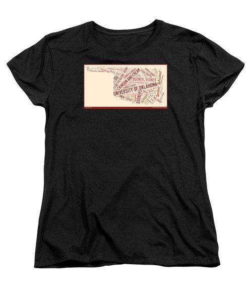 Ou Word Art University Of Oklahoma Women's T-Shirt (Standard Cut) by Roberta Peake