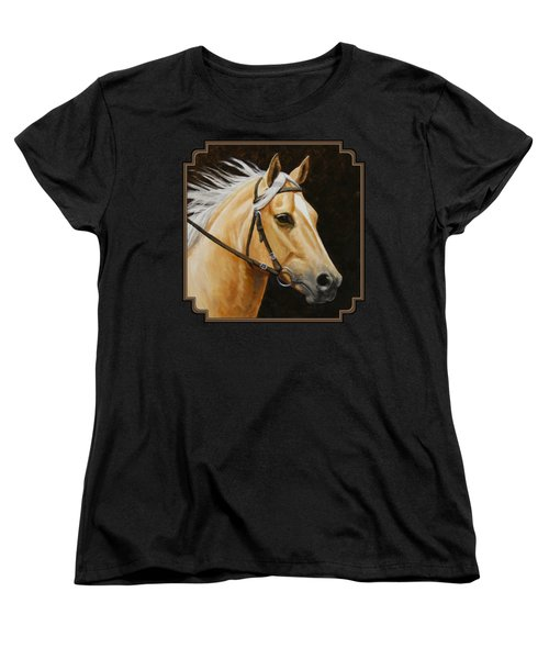 Palomino Horse Portrait Women's T-Shirt (Standard Cut) by Crista Forest