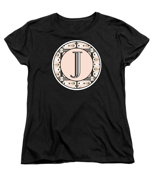 Pink Champagne Deco Monogram  J Women's T-Shirt (Standard Cut) by Cecely Bloom