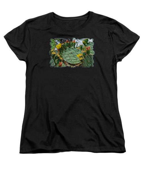 Prickly Pear Flowers Op46 Women's T-Shirt (Standard Cut) by Mark Myhaver