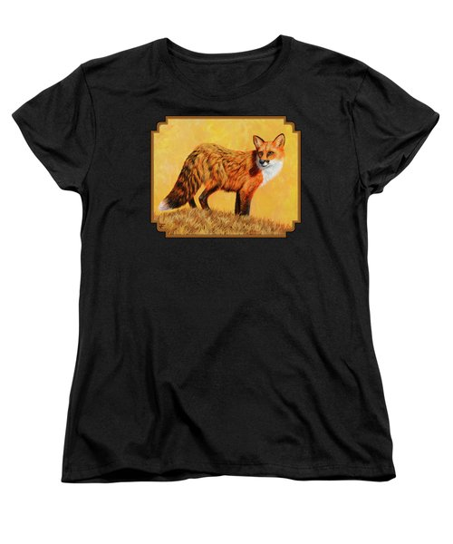 Red Fox Painting - Looking Back Women's T-Shirt (Standard Cut) by Crista Forest