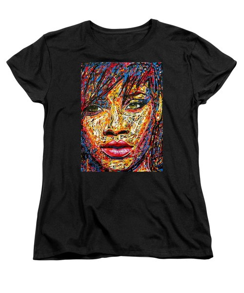 Rihanna Women's T-Shirt (Standard Cut) by Angie Wright