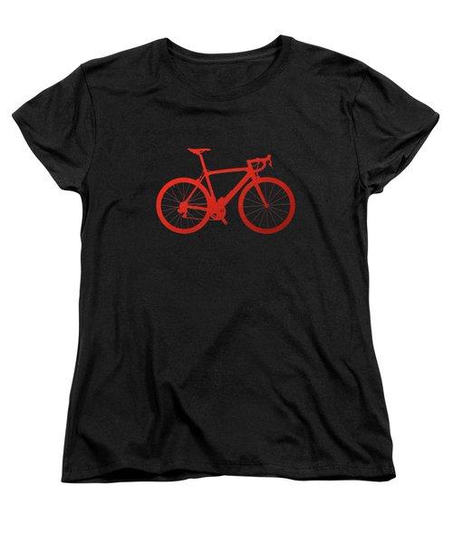 Road Bike Silhouette - Red On Black Canvas Women's T-Shirt (Standard Cut) by Serge Averbukh