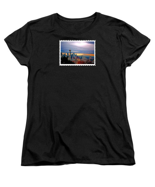 Seattle At Sunset Women's T-Shirt (Standard Cut) by Elaine Plesser