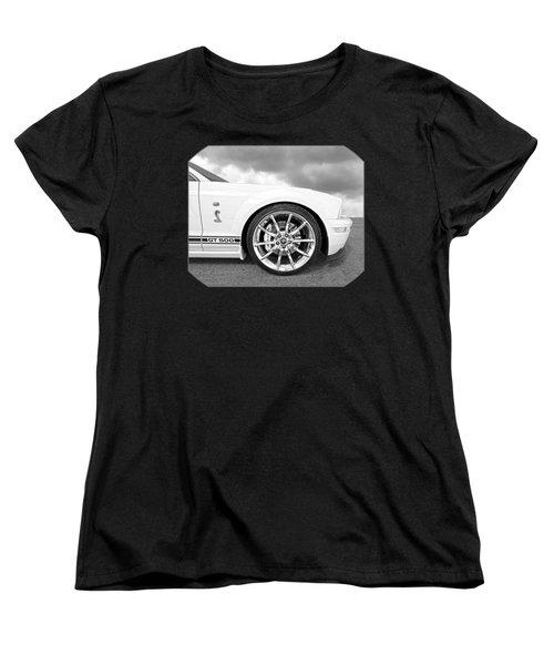 Shelby Gt500 Wheel Black And White Women's T-Shirt (Standard Cut) by Gill Billington