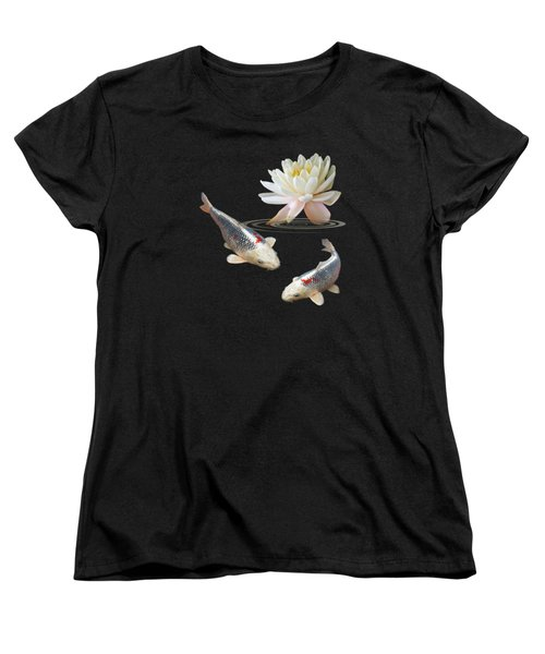 Silver And Red Koi With Water Lily Vertical Women's T-Shirt (Standard Cut) by Gill Billington