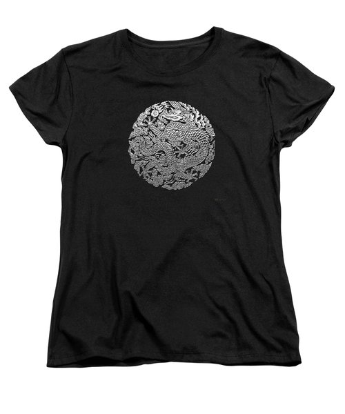 Sliver Chinese Dragon On Black Leather Women's T-Shirt (Standard Cut) by Serge Averbukh