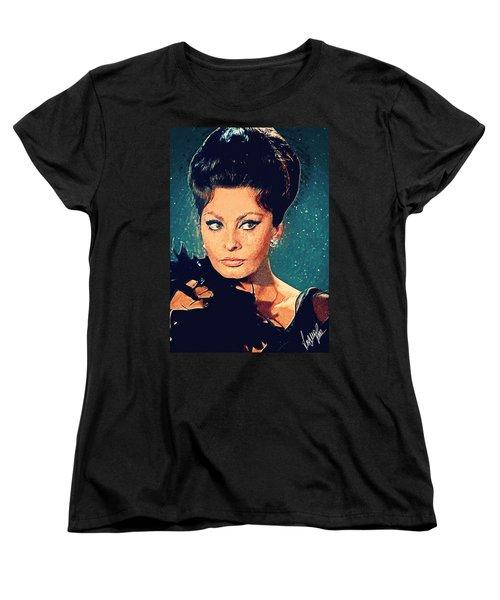 Sophia Loren Women's T-Shirt (Standard Cut) by Taylan Apukovska