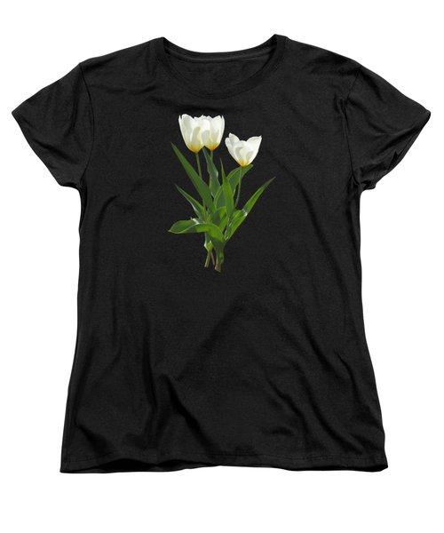 Spring - Backlit White Tulips Women's T-Shirt (Standard Cut) by Susan Savad