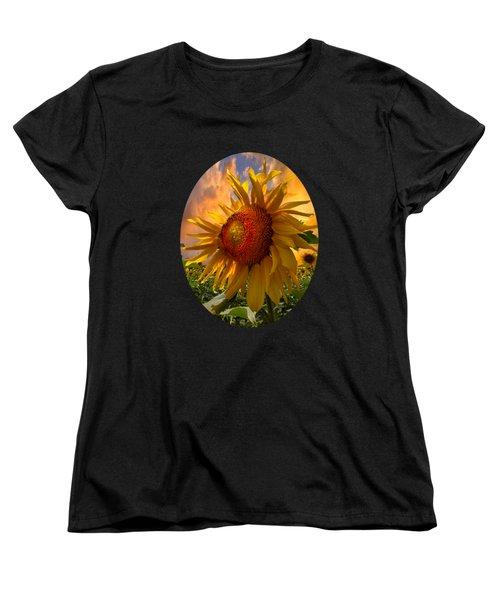 Sunflower Dawn In Oval Women's T-Shirt (Standard Cut) by Debra and Dave Vanderlaan