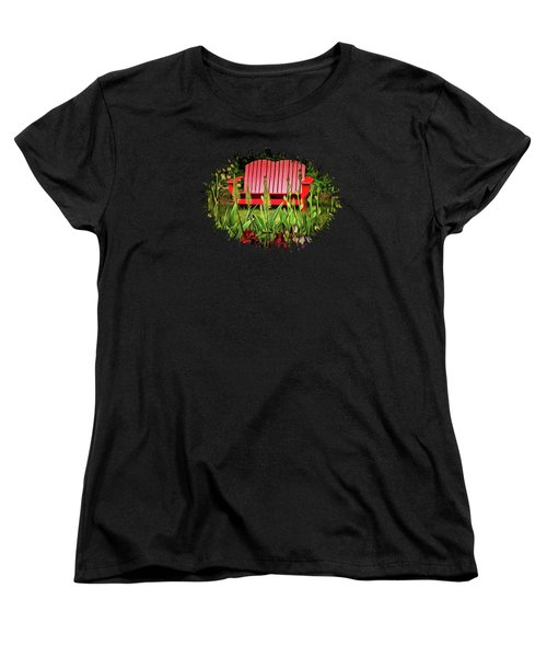 The Red Garden Bench Women's T-Shirt (Standard Cut) by Thom Zehrfeld