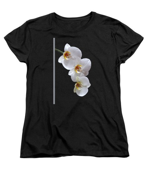 White Orchids On Black Vertical Women's T-Shirt (Standard Cut) by Gill Billington