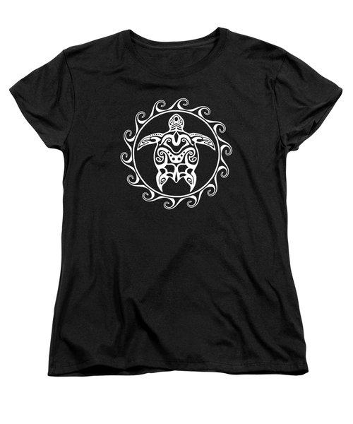 White Tribal Turtle Women's T-Shirt (Standard Cut) by Chris MacDonald