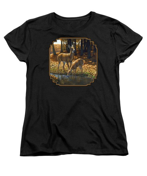 Whitetail Deer - Autumn Innocence 1 Women's T-Shirt (Standard Cut) by Crista Forest