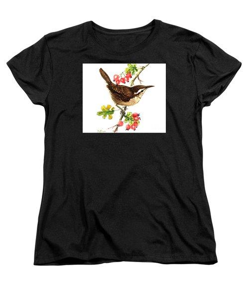 Wren And Rosehips Women's T-Shirt (Standard Cut) by Nell Hill