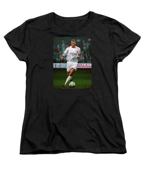 Zidane At Real Madrid Painting Women's T-Shirt (Standard Cut) by Paul Meijering