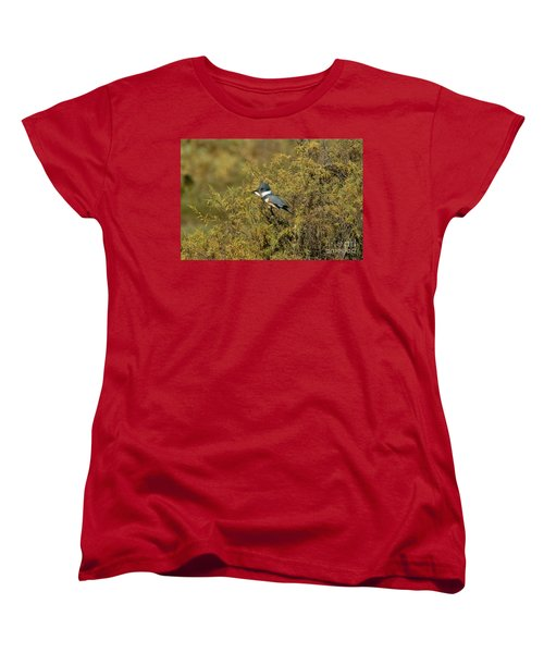 Belted Kingfisher With Fish Women's T-Shirt (Standard Cut) by Anthony Mercieca
