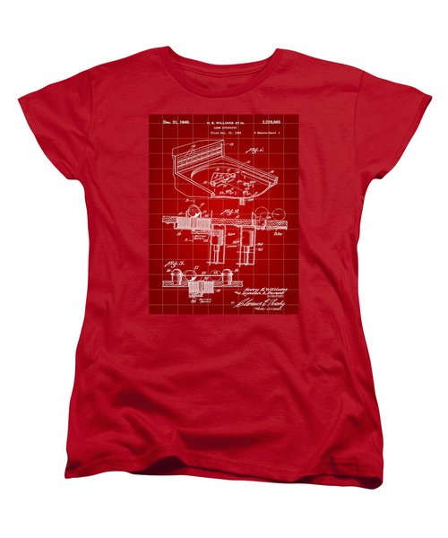 Pinball Machine Patent 1939 - Red Women's T-Shirt (Standard Cut) by Stephen Younts