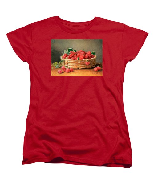A Still Life Of Raspberries In A Wicker Basket  Women's T-Shirt (Standard Cut) by William B Hough