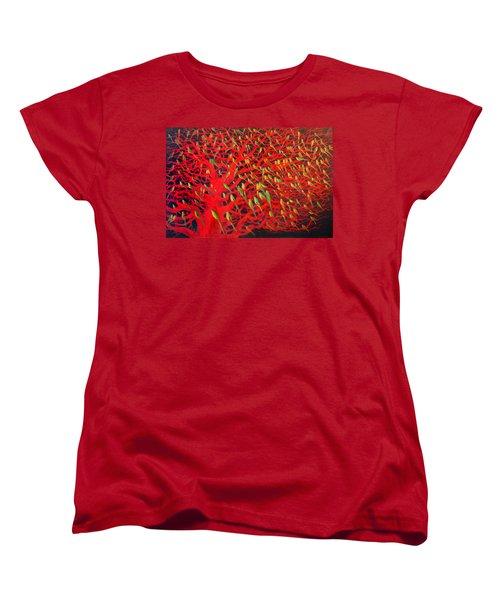 About 180 Orange Bellied Parrots  Women's T-Shirt (Standard Cut) by Charlie Baird