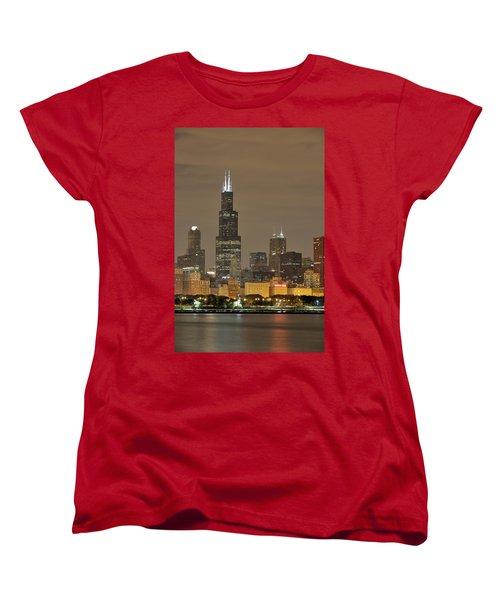 Chicago Skyline At Night Women's T-Shirt (Standard Cut) by Sebastian Musial