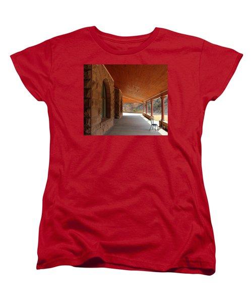 Women's T-Shirt (Standard Cut) featuring the photograph Evans Porch by Bill Gabbert