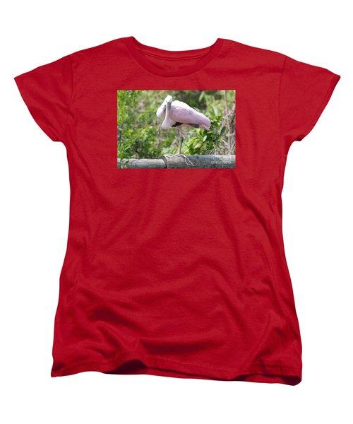 Light Pink Roseate Spoonbill Women's T-Shirt (Standard Cut) by Carol Groenen