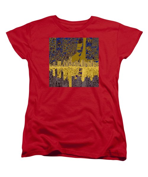 Miami Skyline Abstract 3 Women's T-Shirt (Standard Cut) by Bekim Art