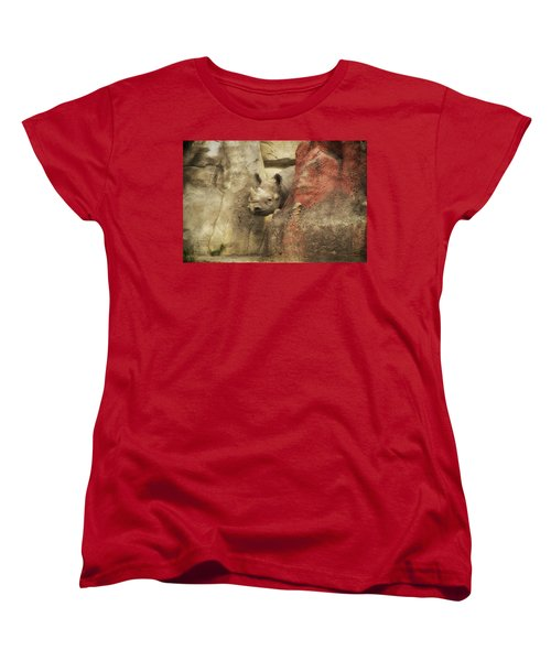 Peek A Boo Rhino Women's T-Shirt (Standard Cut) by Thomas Woolworth