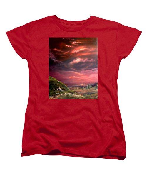 Red Sky At Night Women's T-Shirt (Standard Cut) by Jean Walker