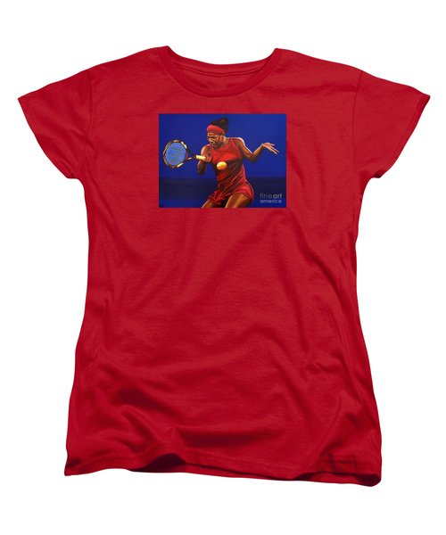 Serena Williams Painting Women's T-Shirt (Standard Cut) by Paul Meijering