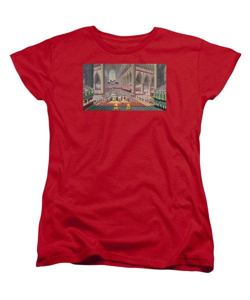 The Coronation Of King William Iv And Queen Adelaide, 1831 Colour Litho Women's T-Shirt (Standard Cut) by English School