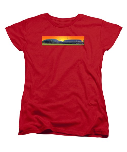 The Old And New Yankee Stadiums Side By Side At Sunset Women's T-Shirt (Standard Cut) by Nishanth Gopinathan
