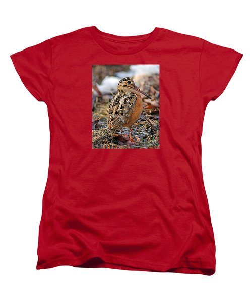 Timberdoodle The American Woodcock Women's T-Shirt (Standard Cut) by Timothy Flanigan