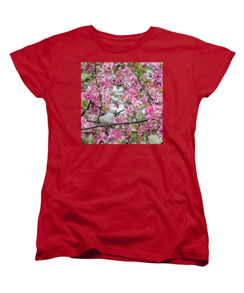 Tufted Titmouse In A Pear Tree Square Women's T-Shirt (Standard Cut) by Bill Wakeley