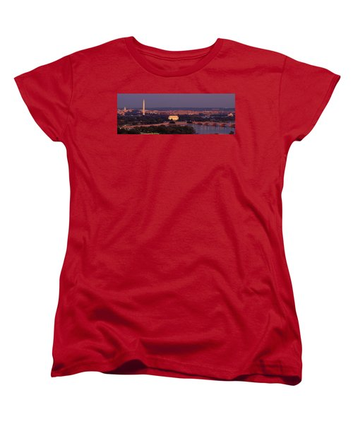 Usa, Washington Dc, Aerial, Night Women's T-Shirt (Standard Cut) by Panoramic Images