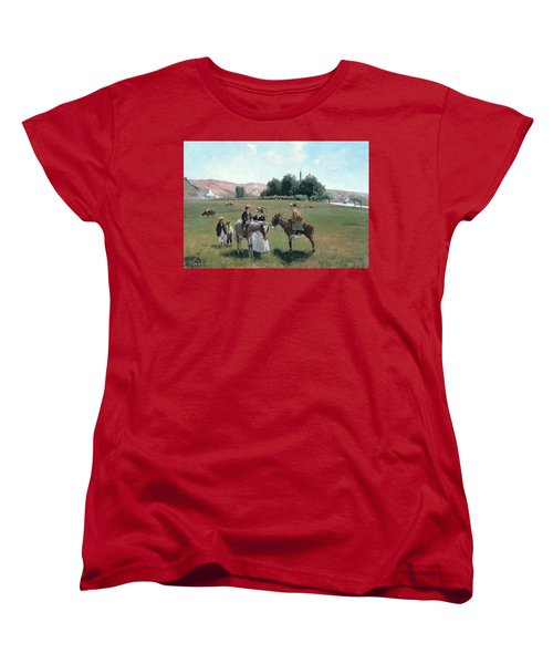 Donkey Ride Women's T-Shirt (Standard Cut) by Camille Pissarro