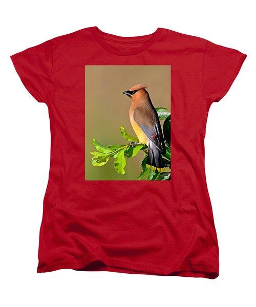 Women's T-Shirt (Standard Cut) featuring the photograph Cedar Waxwing by Rodney Campbell