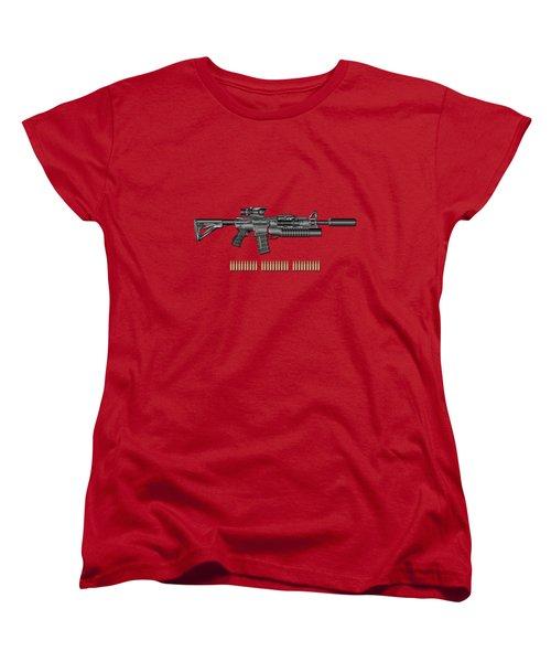 Colt  M 4 A 1  S O P M O D Carbine With 5.56 N A T O Rounds On Red Velvet  Women's T-Shirt (Standard Cut) by Serge Averbukh