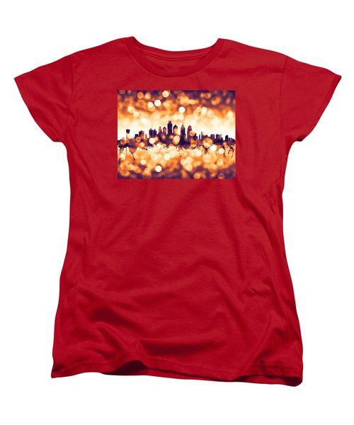Philadelphia Pennsylvania Skyline Women's T-Shirt (Standard Cut) by Michael Tompsett