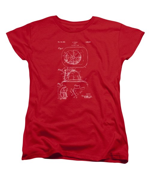 1932 Fireman Helmet Artwork Red Women's T-Shirt (Standard Cut) by Nikki Marie Smith