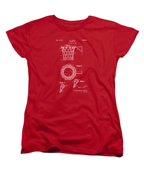 1951 Basketball Net Patent Artwork - Red Women's T-Shirt (Standard Cut) by Nikki Marie Smith