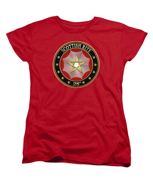 28th Degree - Knight Commander Of The Temple Jewel On Red Leather Women's T-Shirt (Standard Cut) by Serge Averbukh