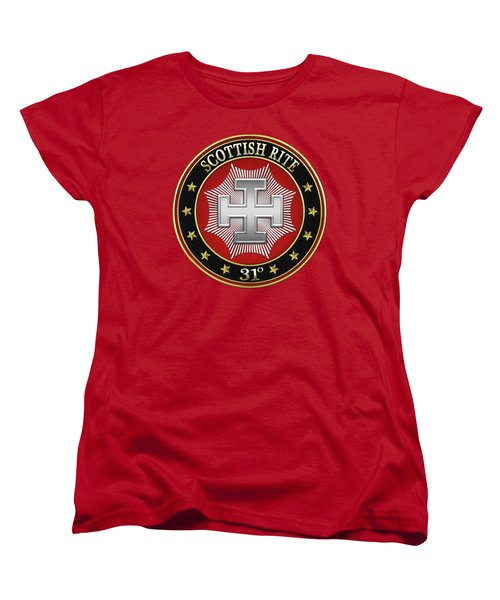 31st Degree - Inspector Inquisitor Jewel On Red Leather Women's T-Shirt (Standard Cut) by Serge Averbukh
