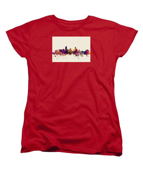 Miami Florida Skyline Women's T-Shirt (Standard Cut) by Michael Tompsett