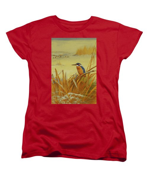A Kingfisher Amongst Reeds In Winter Women's T-Shirt (Standard Cut) by Archibald Thorburn