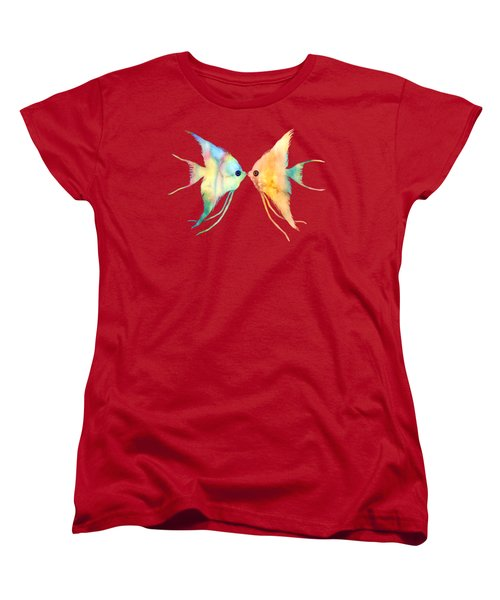 Angelfish Kissing Women's T-Shirt (Standard Cut) by Hailey E Herrera