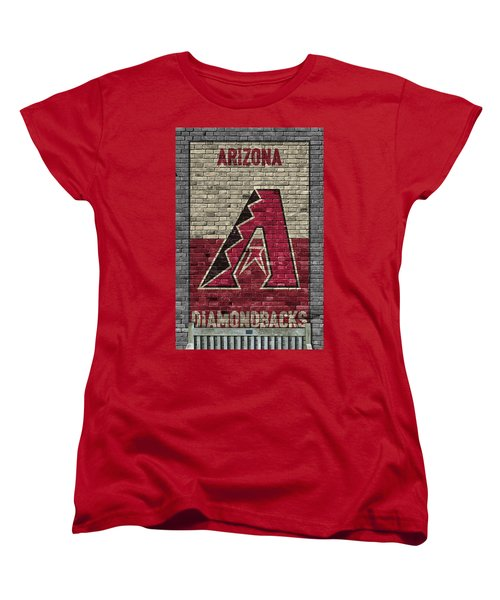 Arizona Diamondbacks Brick Wall Women's T-Shirt (Standard Cut) by Joe Hamilton