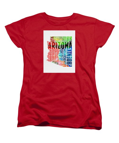 Arizona Watercolor Word Cloud Map  Women's T-Shirt (Standard Cut) by Naxart Studio